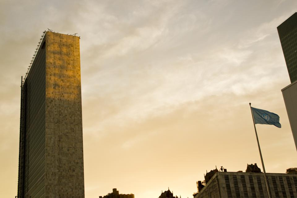 View the United Nations Headquarters in New York at sunset